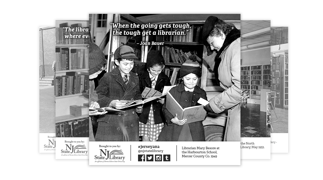 Jerseyana social media posts showcase vintage photographs in NJ libraries from the 1920s.