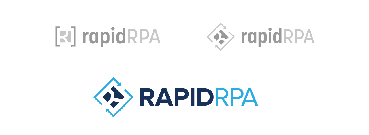 Design concepts were developed to accentuate the utility of RapidRPA's solutions in the logo.